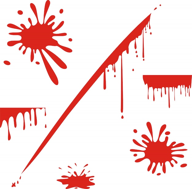 Dripping blood isolated on white Premium Vector