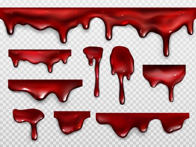 Капающая кровь, красная краска или кетчуп Бесплатные векторы