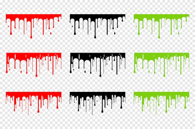Dripping blood, slime and black silhouette set isolated Premium Vector