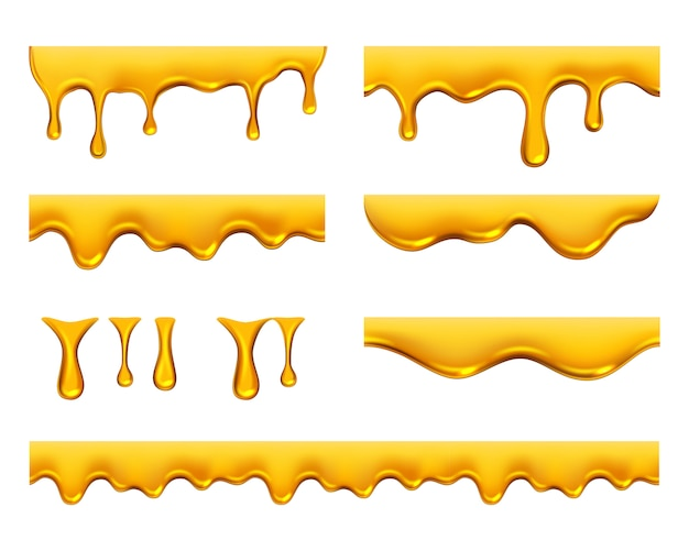 Dripping honey. golden yellow realistic syrup or juice dripping liquid oil splashes template Premium Vector