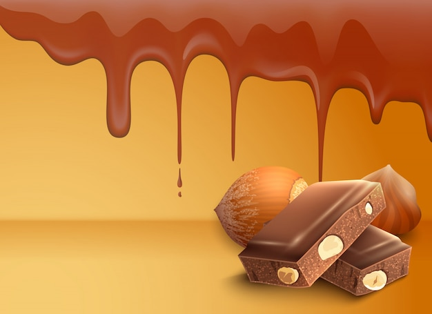 Dripping melting chocolate drops background with hazelnuts Free Vector
