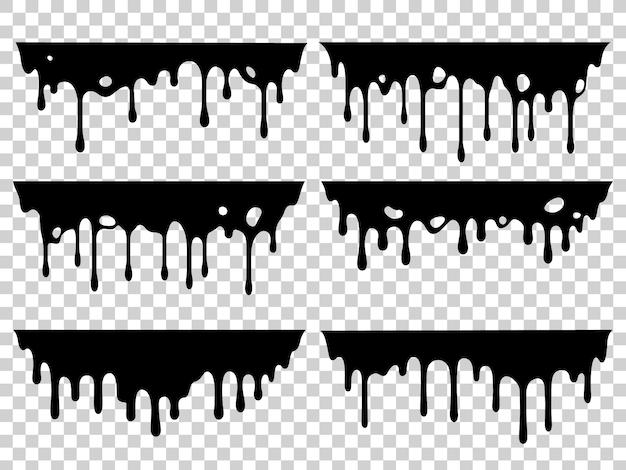 Dripping oil stain set Premium Vector