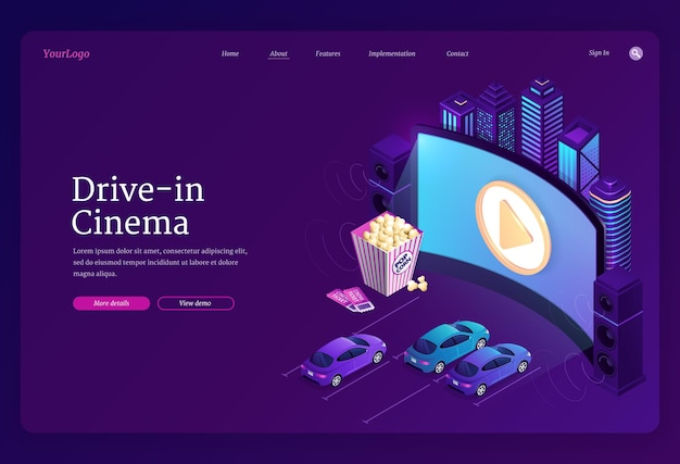Drive-in cinema landing page Free Vector