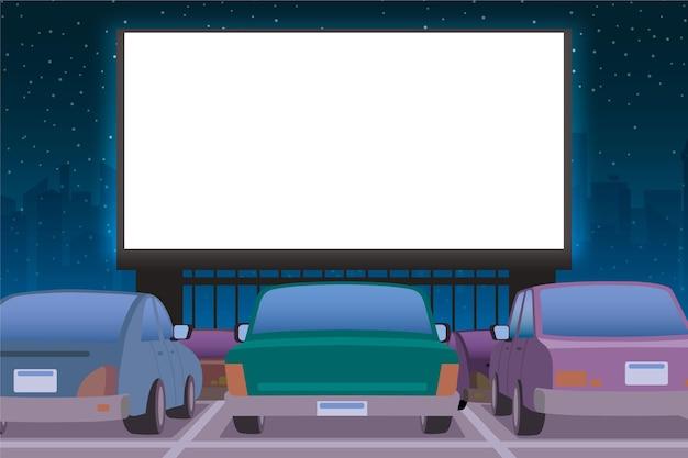 Концепция автомобильного кинотеатра Бесплатные векторы