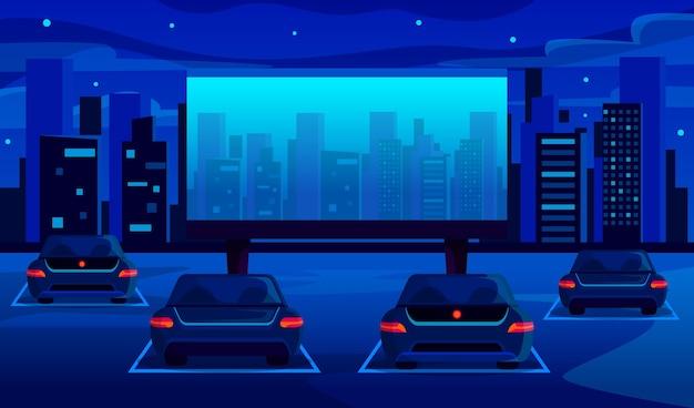 Иллюстрация кинотеатра drive-in Бесплатные векторы