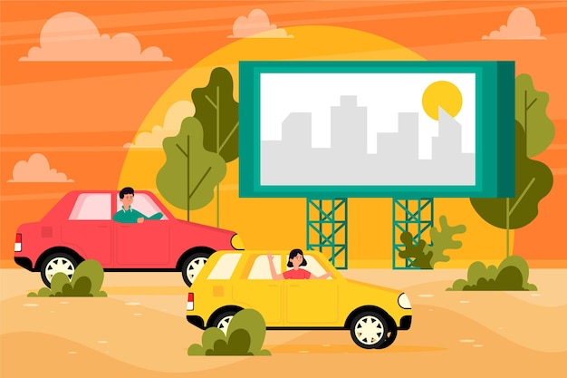 Drive In Movie Theater Concept Free Vector