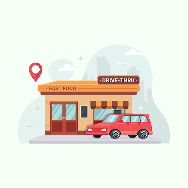 Проезжайте через мультфильм иллюстрации ресторана быстрого питания Premium векторы