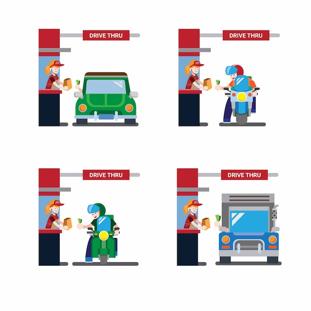 Drive thru icon collection set, motorcyle, truck and car in flat design Premium Vector