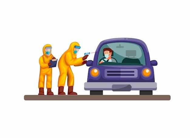 Пройдя экспресс-тестирование, доктор и ученый надевают автомобиль водителя в защитном костюме от коронирусной инфекции. концепция в мультяшный иллюстрации на белом фоне Premium векторы