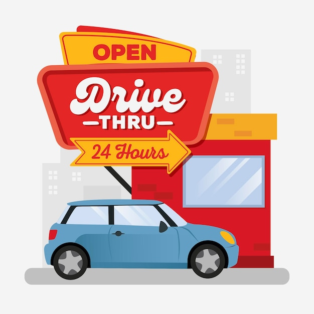 Drive thru sign illustration with car Free Vector