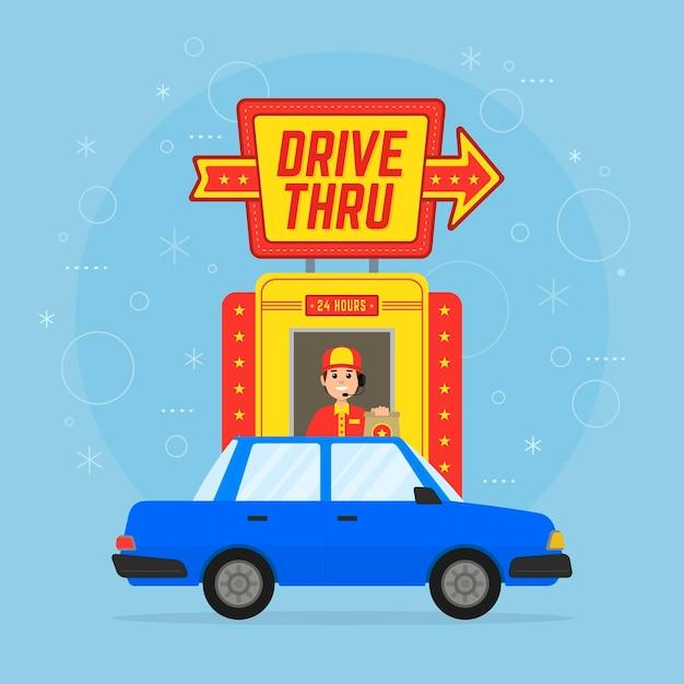 車と人で標識を通り抜ける 無料ベクター