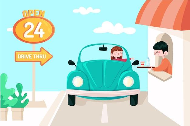 Drive thru window illustrated Free Vector