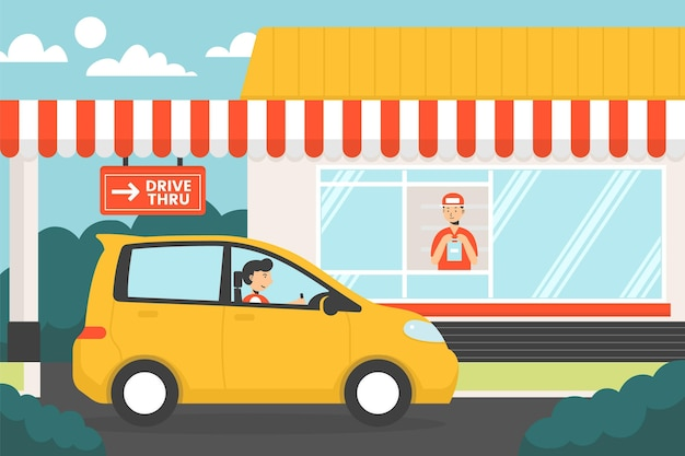 Drive thru window illustration with car Free Vector