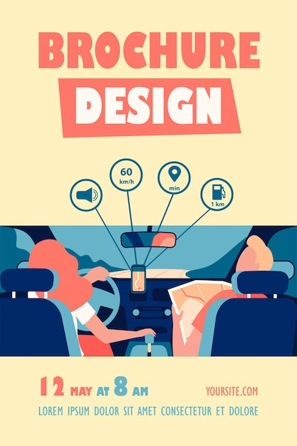 Водитель и пассажир перемещаются по дороге в шаблоне карты и флаера для мобильного приложения Бесплатные векторы