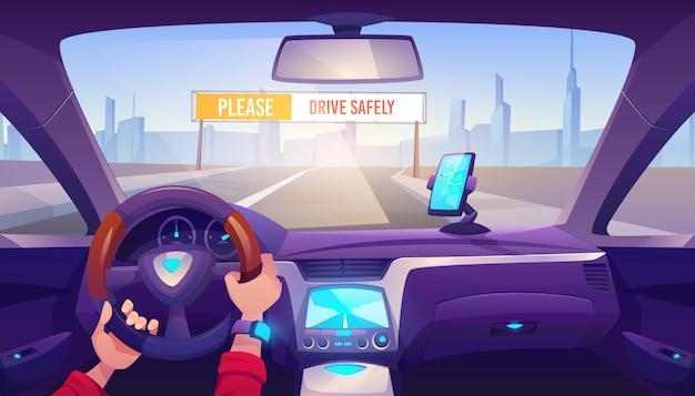 Руки водителя на иллюстрации рулевого колеса автомобиля Бесплатные векторы