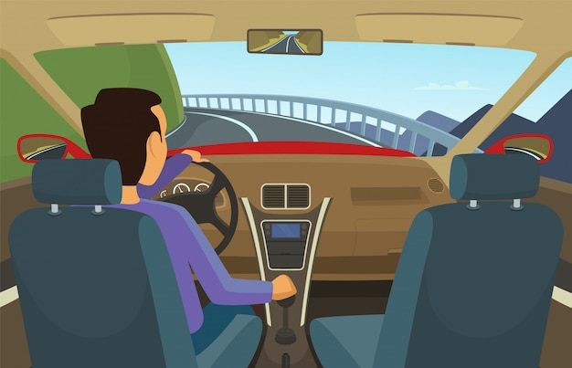 Driver inside his car. vector illustration in cartoon style. driver car, automobile transportation on road Premium Vector