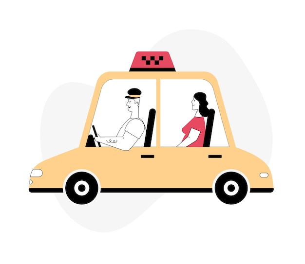 Driver and passenger in car front and side view online taxi or rent transportation set taxi service city moving road safety modern profession Premium Vector