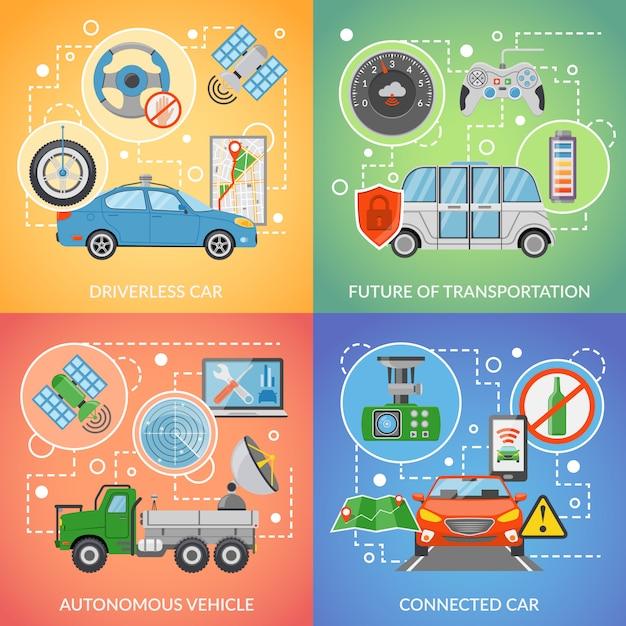 Driverless car autonomous vehicle 2x2 icons set Free Vector