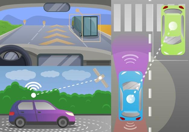 Driverless car banner set, cartoon style Premium Vector
