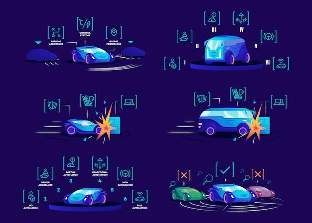 Установлены беспилотные автомобили плоские цветные векторные иллюстрации. самостоятельно вождения транспортных средств на синем фоне. автономные автомобильные преимущества, интеллектуальные системы управления, различные режимы автоматизации и защита от повреждений Premium векторы