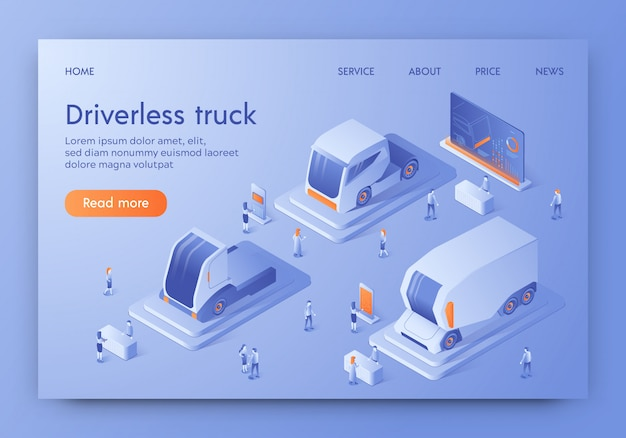 Driverless truck banner unmanned auto, future cars Premium Vector