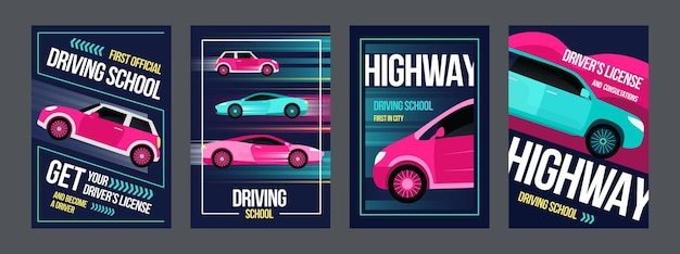 Driving school posters set. fast cars in motions  illustrations with text and frames. Free Vector