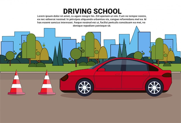 Driving school, vehicle on road, auto drive education practice exam concept Premium Vector