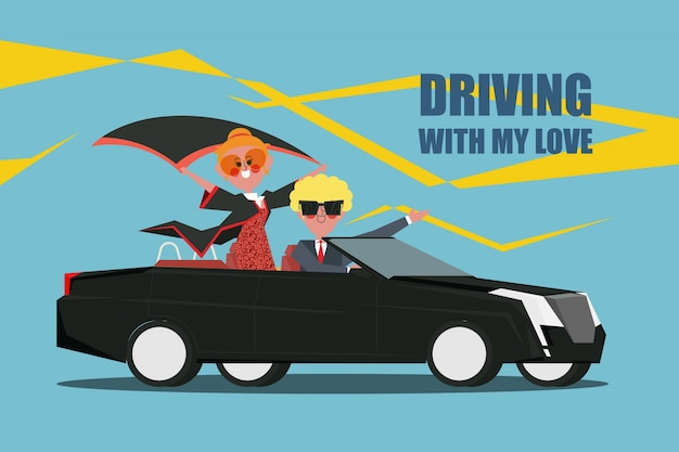 Driving with my love Couples drive a convertible car Character design flat style Free Vector