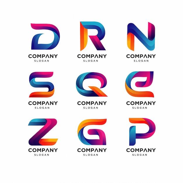 Современные письма drn шаблоны логотипов Premium векторы