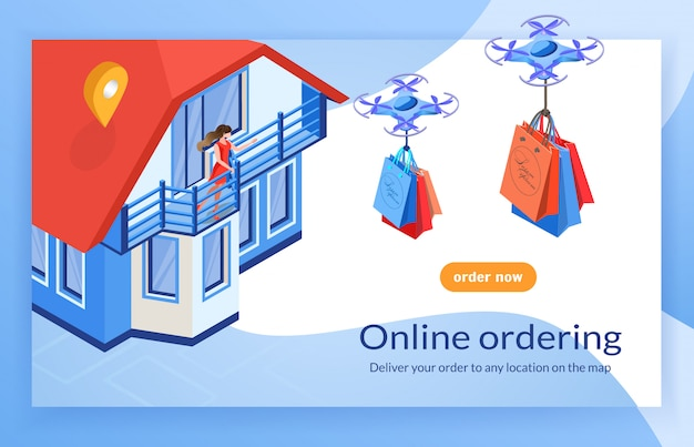 Dron delivers bags to woman home ordering online. Premium Vector