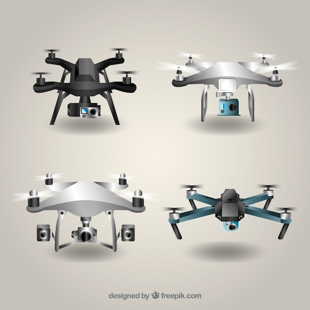 Drone collection with realistic style Free Vector