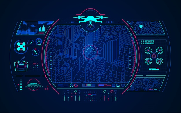 Drone control Premium векторы