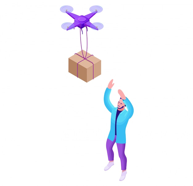 Drone delivering parcel to hipster man Premium Vector
