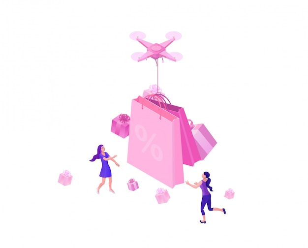 Drone delivering pink gift box Premium Vector