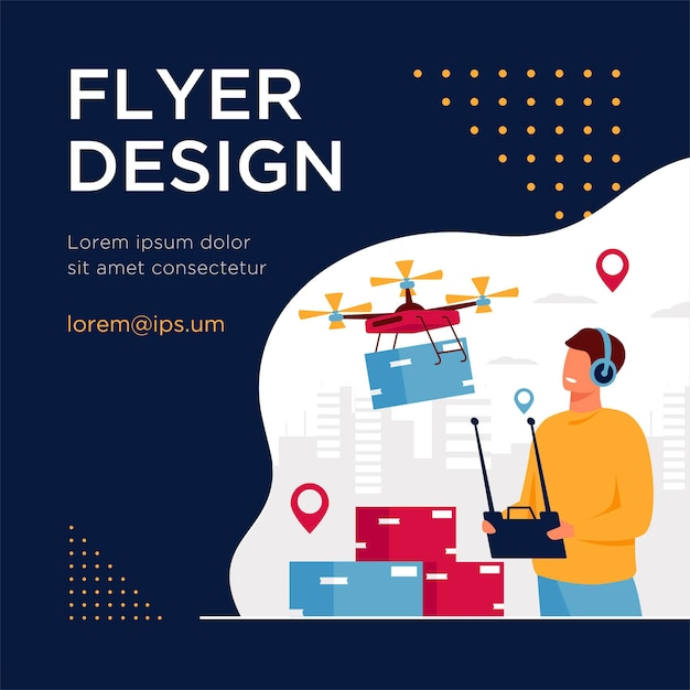 Drone delivery concept. delivery operator controlling quadcopter with postal or distributing box, sending mobile machine to city address. flyer template Free Vector