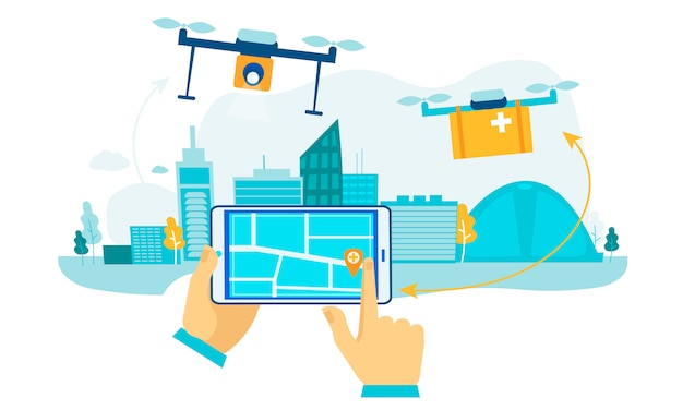 Drone delivery. future package shipping. Premium Vector