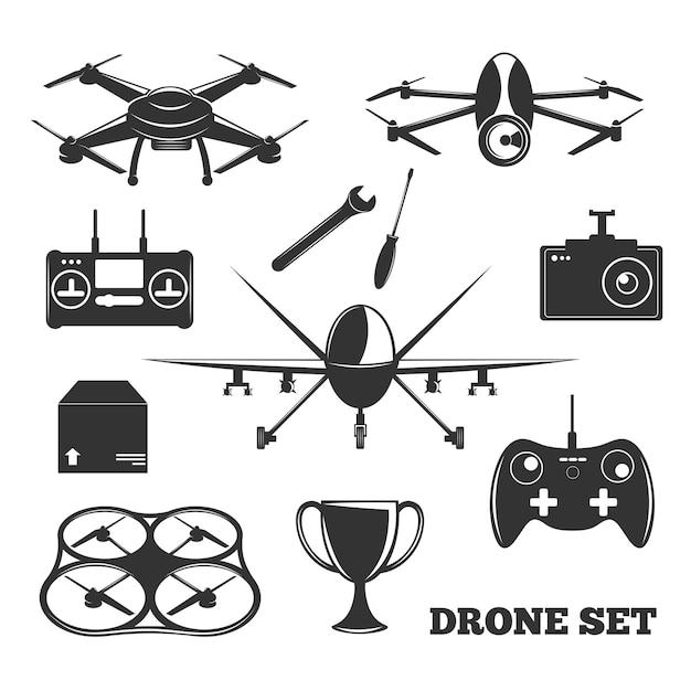 Drone elements монохромный набор Бесплатные векторы