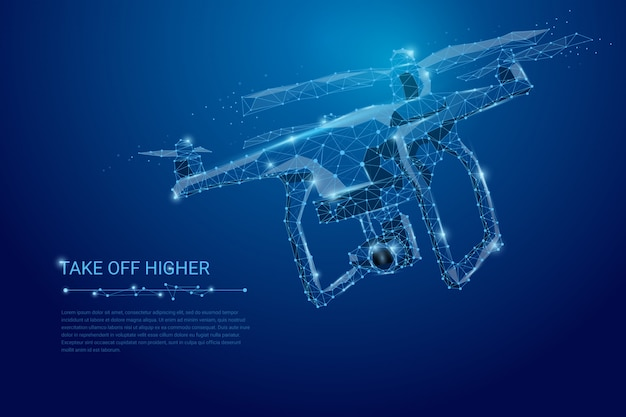 Drone flying with action video camera on dark blue banner Premium Vector