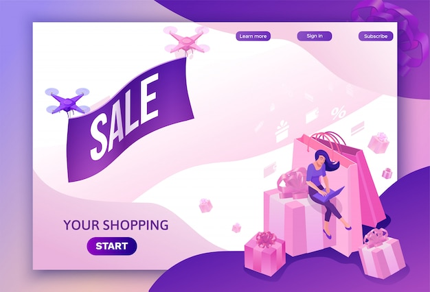 Drone flying with poster, isometric sale design Premium Vector
