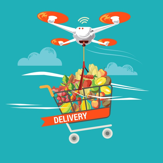 Drone for grocery logistic service in business and industry Premium Vector