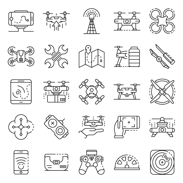 Drone icon set. outline set of drone vector icons Premium Vector