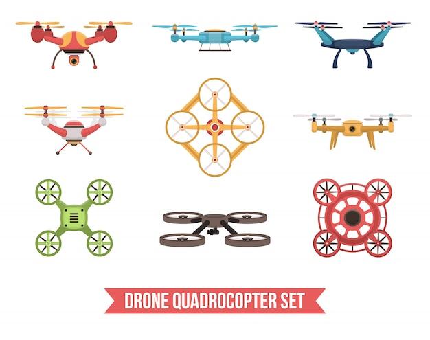 Drone quadrocopter set Free Vector
