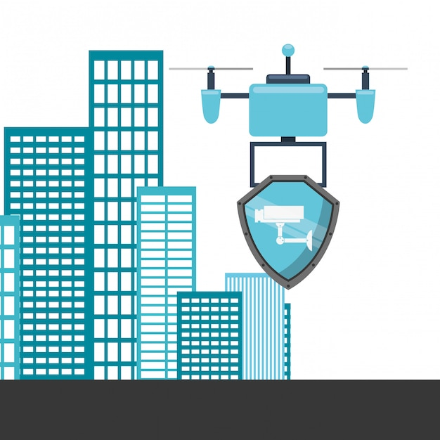 Drone technology design with buildings Free Vector