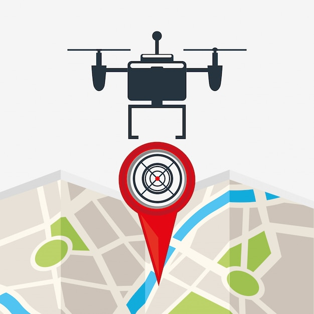 Drone technology design with map point Free Vector