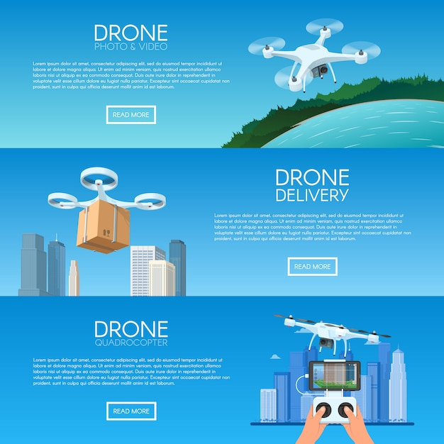Drone with remote control flying over city. pizza delivery by quadcopter. aerial drone with camera taking photography and video concept   illustration Premium Vector
