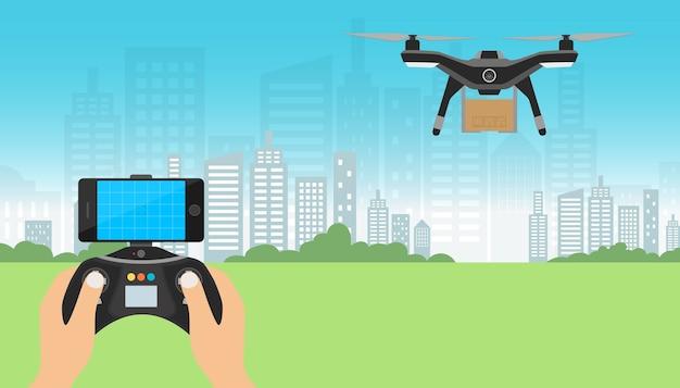 Drone с картонной коробкой с дистанционным управлением, летящим над городом Premium векторы