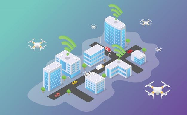 Технология drone, летающая в верхней части умного города с изометрическим современным плоским стилем Premium векторы