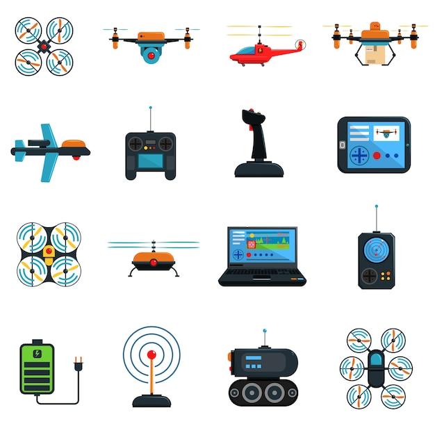 Drones icons set Free Vector