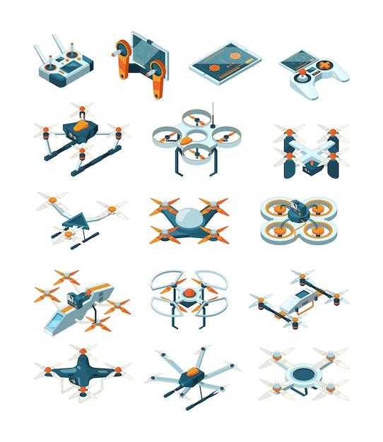 ドローンは等尺性です。航空機の将来の最新技術は無人航空機セットを輸送します。回転翼航空機によるラジオ配信、輸送現代イラスト Premiumベクター