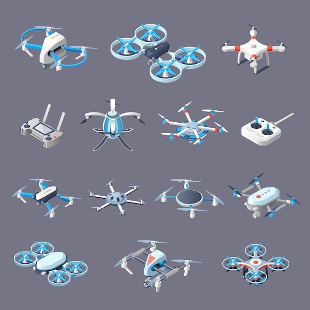 Icone isometriche di droni Vettore gratuito